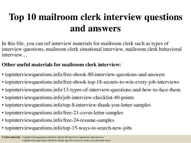 Mailroom Clerk Resume