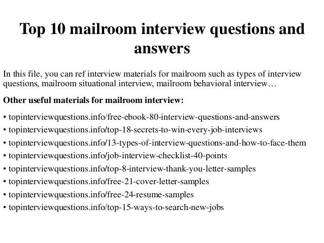 Elegant Top 10 Mailroom Interview Questions And Answers In This File, You Can Ref  Interview Materials ...