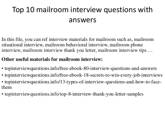 Top 10 mailroom interview questions with answers