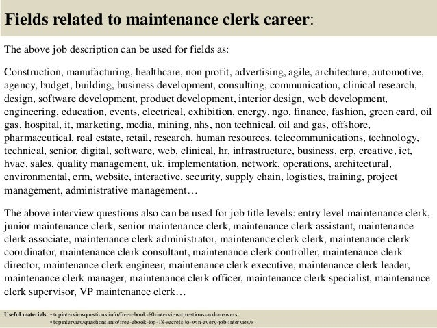 Top 10 Maintenance Clerk Interview Questions And Answers