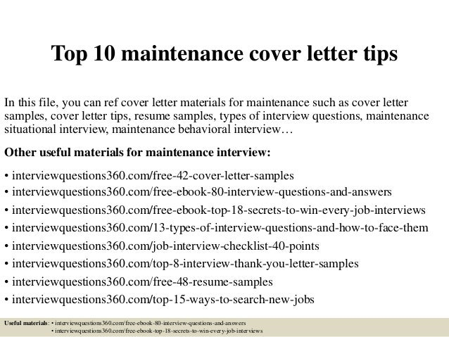 top 10 maintenance cover letter tips in this file you can ref cover letter materials - Aintenance Cover Letter