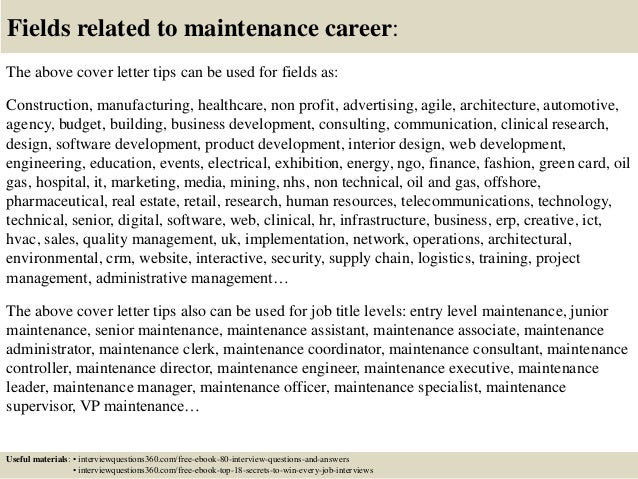 Top 10 maintenance cover letter tips