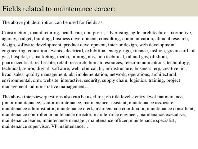 Top  Maintenance Interview Questions And Answers