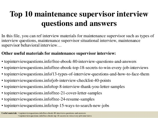 Top 10 Maintenance Supervisor Interview Questions And Answers