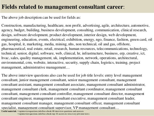 High Quality ... 17. Fields Related To Management Consultant Career: The Above Job  Description ...