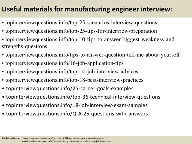 13 useful materials for manufacturing engineer - Manufacturing Engineering Job Description