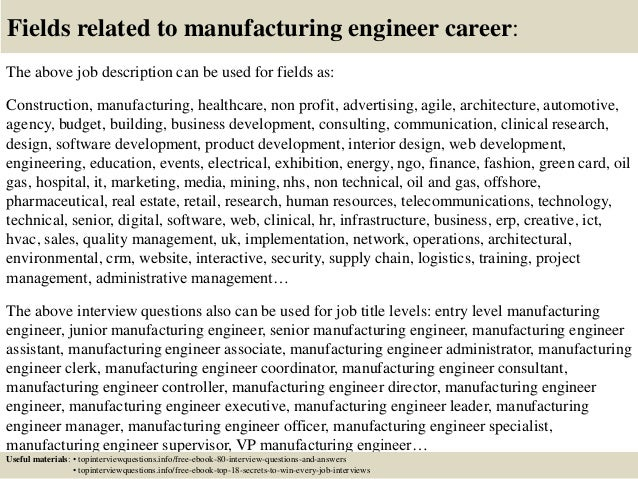 Top  Manufacturing Engineer Interview Questions And Answers