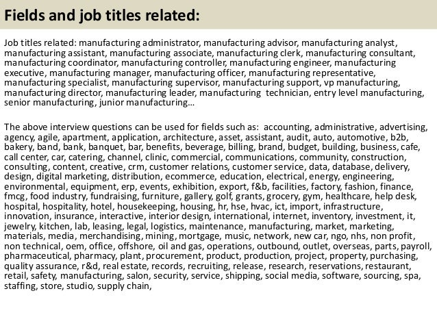 21 fields and job - Manufacturing Engineering Job Description