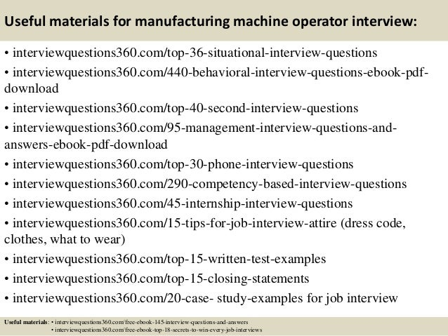 manufacturing operator resumes