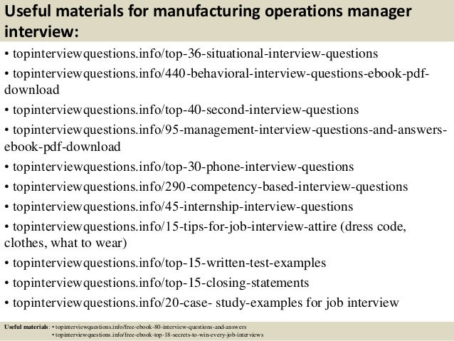 Top 10 manufacturing operations manager interview questions and answe…