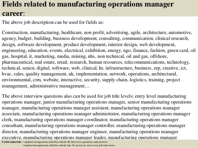 ... 17. Fields Related To Manufacturing Operations Manager Career: The  Above Job Description ...
