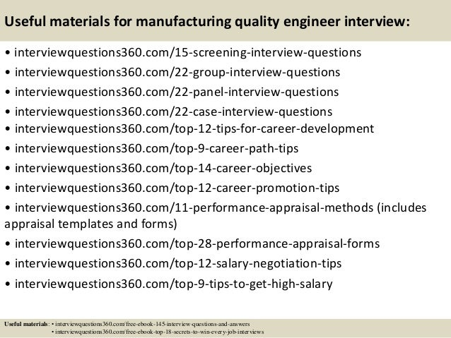 ... 16. Useful Materials For Manufacturing Quality Engineer Interview: ...