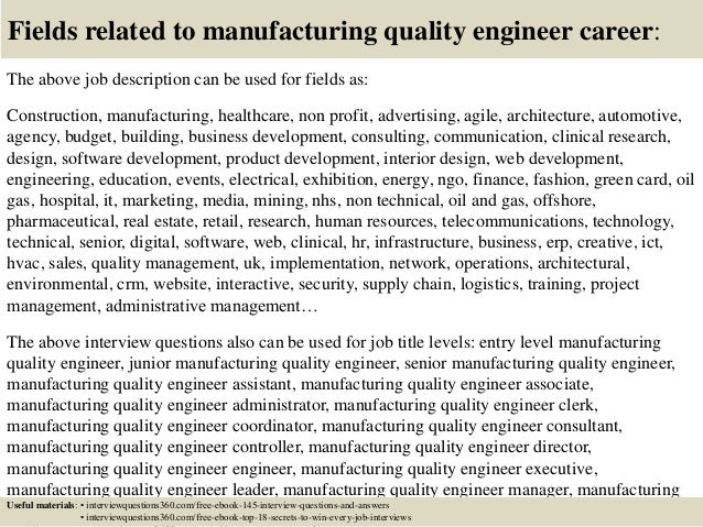 ... 18. Fields Related To Manufacturing Quality Engineer Career: The Above Job  Description ...