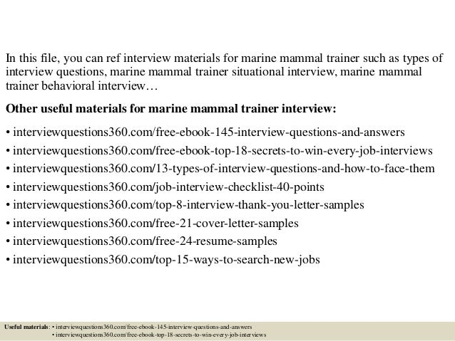 Writing Your Cover Letter Marine Mammal Trainer. Animal Rescue ...