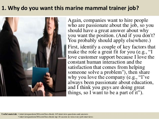 ... 3. 1. Why Do You Want This Marine Mammal Trainer ...
