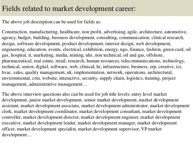 Top  Market Development Interview Questions And Answers