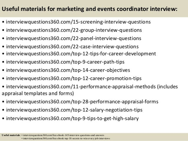 16 useful materials for marketing and events coordinator interview - Event Coordinator Interview Questions And Answers