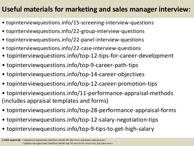 15 useful materials for marketing and sales manager interview - Sales Manager Interview Questions Sales Job Interview