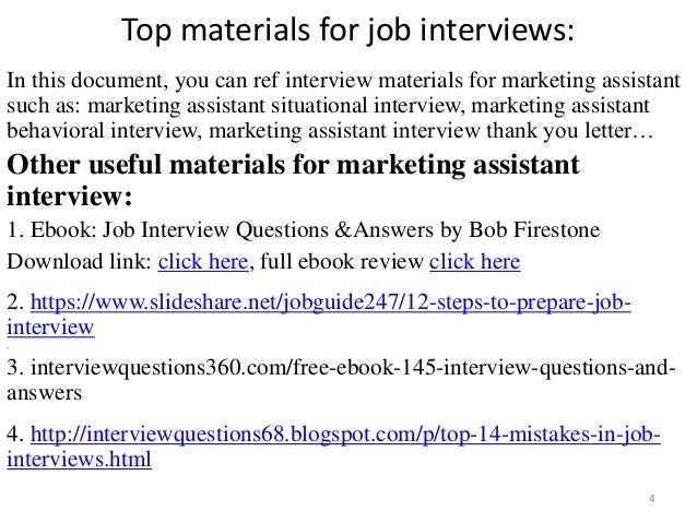 ... Tips To Prepare For Marketing Assistant Interview; 4. Top Materials For  Job ...