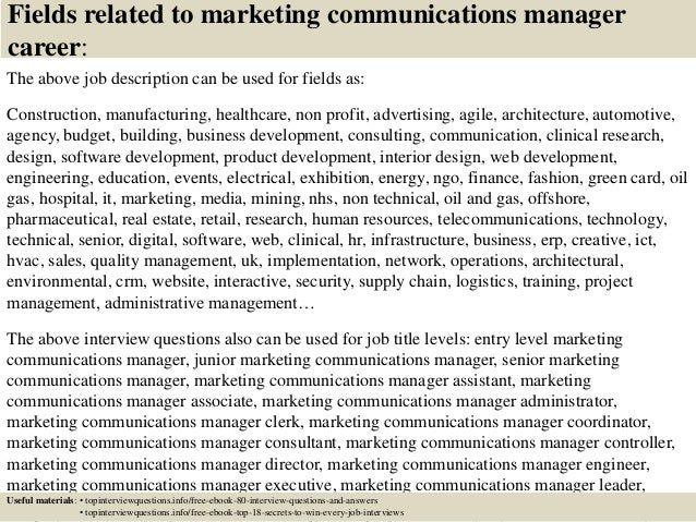Top 10 marketing communications manager interview questions and answe…