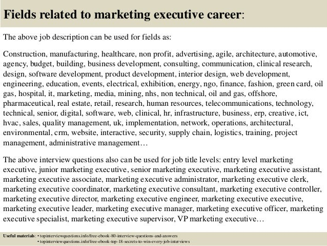 Top  Marketing Executive Interview Questions And Answers