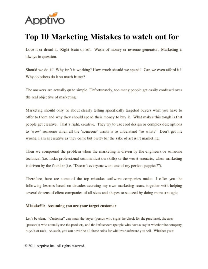 Top 10 Marketing Mistakes to watch out forLove it or dread it. Right brain or left. Waste of money or revenue generator. M...
