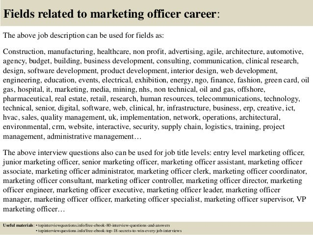 Top 10 marketing officer interview questions and answers – Marketing Officer Job Description