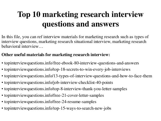 Top 10 Marketing Research Interview Questions And Answers