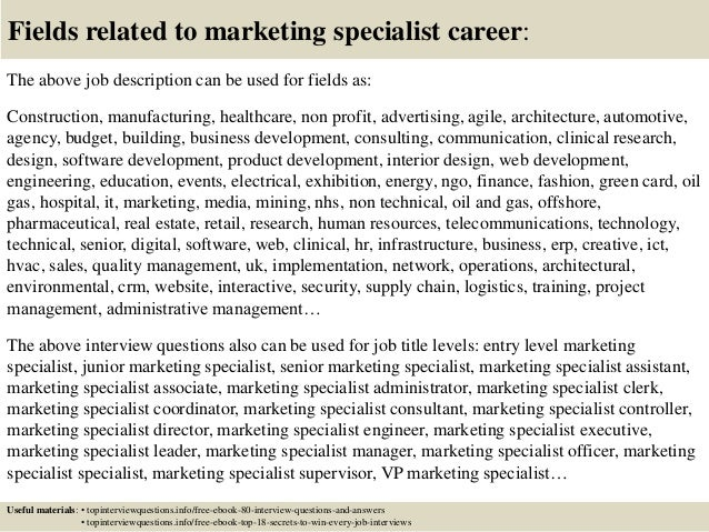 Top  Marketing Specialist Interview Questions And Answers