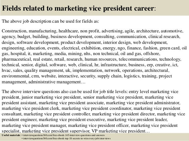 Top 10 marketing vice president interview questions and answers