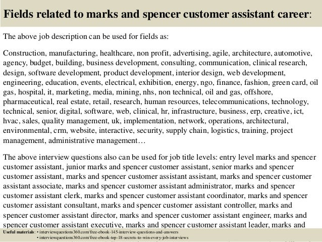 top  marks  spencer customer assistant interview questions