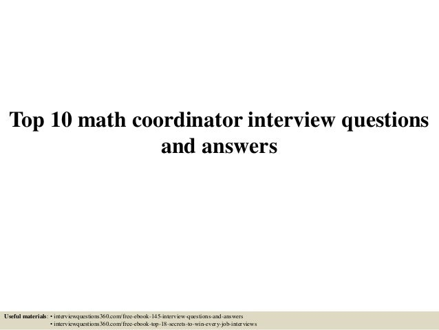 Top 10 Math Coordinator Interview Questions And Answers