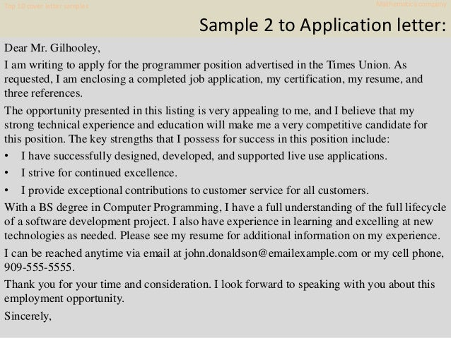 Top 10 Mathematica Company Cover Letter Samples