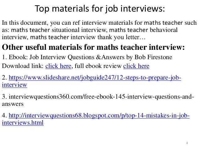 Math Teacher Job Interview Questions And Answers - Job Retro
