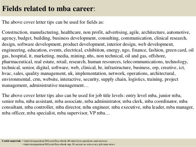 Awesome ... 16. Fields Related To Mba Career: The Above Cover Letter ...