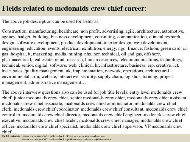 mcdonalds crew member job duties