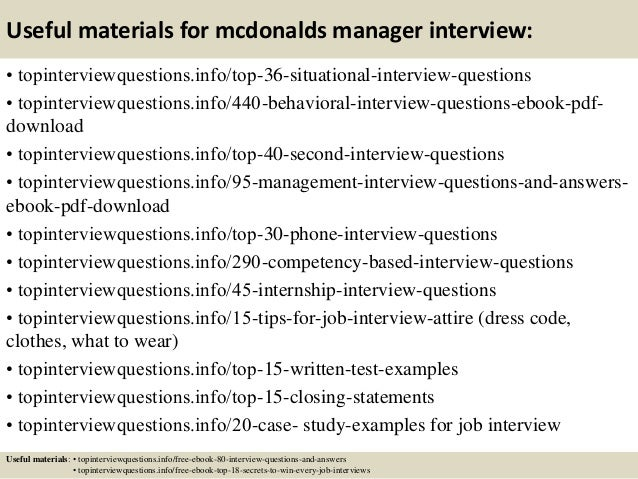 Top 10 mcdonalds manager interview questions and answers 12 useful materials for mcdonalds fandeluxe Images