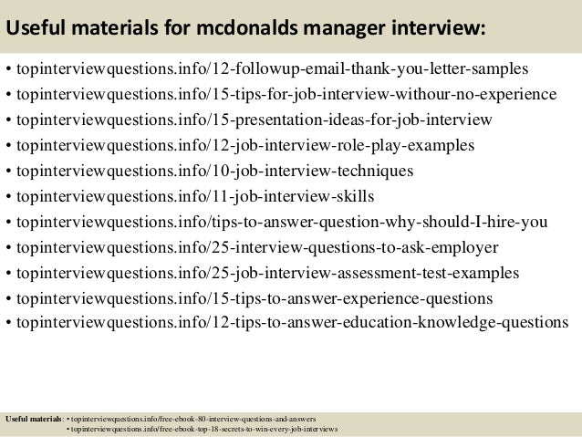 Top 10 mcdonalds manager interview questions and answers 14 useful materials for mcdonalds fandeluxe Choice Image