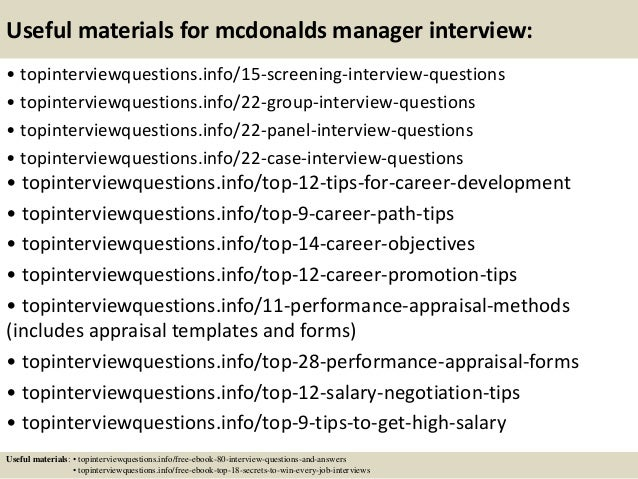 Top 10 mcdonalds manager interview questions and answers 15 useful materials for mcdonalds fandeluxe Choice Image