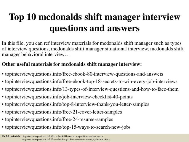 top 10 mcdonalds shift manager interview questions and answers