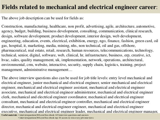 top 10 mechanical and electrical engineer interview