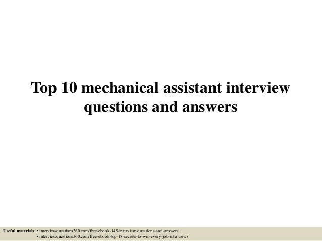 Top 10 mechanical assistant interview questions and answers top 10 mechanical assistant interview questions and answers useful materials interviewquestions360 fandeluxe Image collections