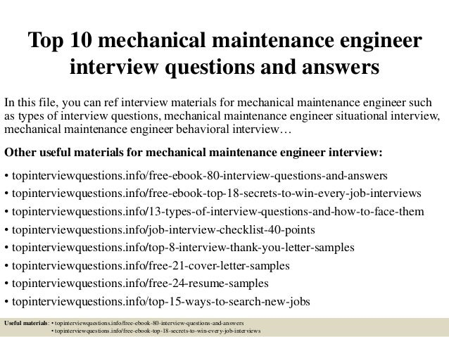 top 10 mechanical maintenance engineer interview questions