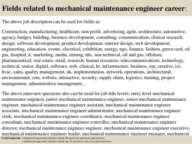 top 10 mechanical maintenance engineer interview questions