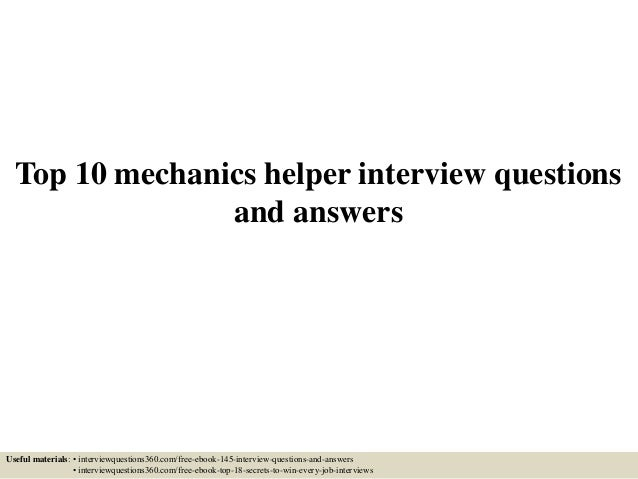 Top 10 mechanics helper interview questions and answers top 10 mechanics helper interview questions and answers useful materials interviewquestions360 fandeluxe Gallery