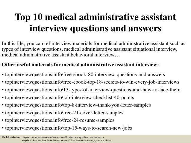 top 10 medical administrative assistant interview