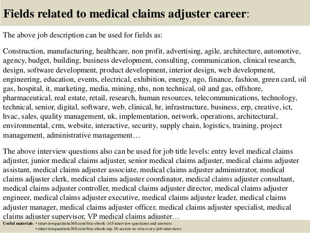... 18. Fields Related To Medical Claims Adjuster ...