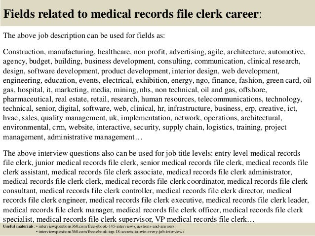 Medical Record Clerk Job Description Description The Medical