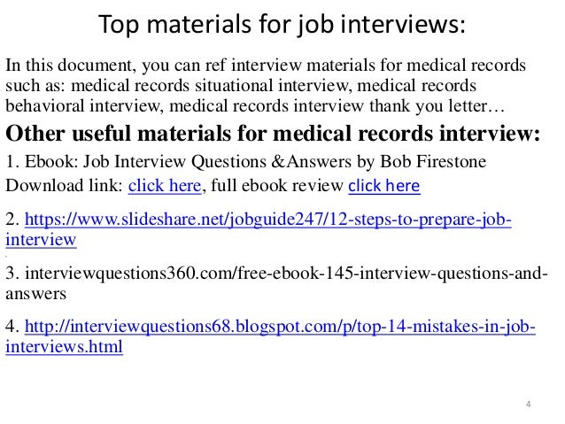 Top  Medical Records Interview Questions And Answers Pdf