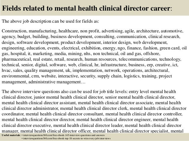 Top 10 mental health clinical director interview questions and answers – Psychiatrist Job Description
